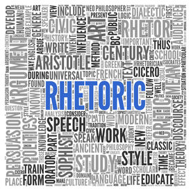 foto of dialect  - Close up Blue RHETORIC Text at the Center of Word Tag Cloud on White Background - JPG