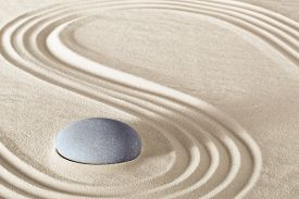 picture of garden-art  - spa treatment concept japanese zen garden stones tao buddhism conceptual for balance harmony relaxation meditation wellness background harmony and purity stone stack sand pattern spiritual elements  - JPG