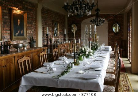 Or photo of formal dinner party table settings for special occasion