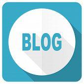 foto of blog icon  - blog blue flat icon   - JPG