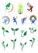 stock photo of environment-friendly  - Eco friendly and environment protection abstract symbols showing silhouettes of people with green leaves - JPG