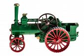 picture of steam  - a metal model of a steam tractor isolated over a white background