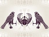 stock photo of horus  - Egyptian Horus and Scarab stencil vector illustration - JPG
