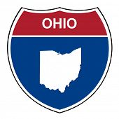 stock photo of shield  - Ohio American interstate highway road shield isolated on a white background - JPG