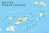 Постер, плакат: British Virgin Islands Political Map