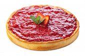 stock photo of strawberry  - Baked strawberry dessert with cream - JPG