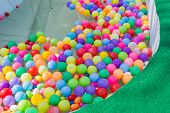 picture of pool ball  - colorful plastic ball floating on water in the pool for games - JPG