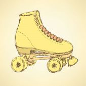 picture of roller-derby  - Sketch skating shoes in vintage style vector - JPG