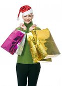 picture of nacked  - blonde smiling woman with christmas hat holding gift bags - JPG