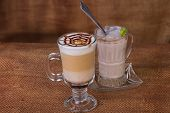 pic of latte coffee  - Latte art coffee cup of cappuccino - JPG