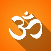 stock photo of ohm  - Illustration of a long shadow om icon - JPG