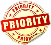 picture of priorities  - illustration of priority red sticker on white background - JPG