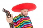 stock photo of pistols  - Funny mexican holding pistol isolated on white - JPG