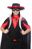 image of zorro  - Young man in carnival coat with sword isolated on white - JPG