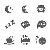 image of sleeping  - Vector isolated sleep concept icons set pillow - JPG