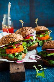 pic of veggie burger  - Veggie beet and carrot burgers with avocado - JPG