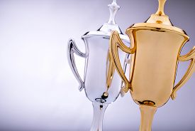 foto of trophy  - Gold and silver trophies waiting to be awarded to the winner and runner - JPG