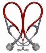 picture of medical supplies  - stethoscopes overlaid in the shape of a heart - JPG