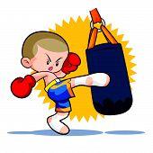 Постер, плакат: Muaythai Sandbag Boxing Kick