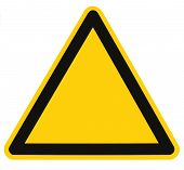 Blank Danger And Hazard Triangle Sign Isolated Macro
