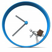 stock photo of hustle  - Businessman carrying briefcase run around a clock 3d illustration - JPG