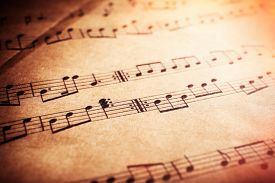 foto of musical scale  - Music notes background - JPG