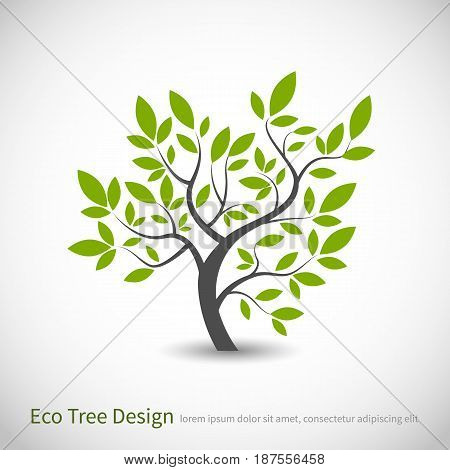 tree logo concept of a stylized vector tree with leaves and branches with space for
