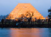 picture of ziggurat  - Office Building in Sacramento at night - JPG