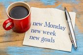 New Monday, new week, new goals - handwriting on a napkin with a cup of coffee poster