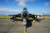 foto of afterburner  - Nose view of Hawker Hunter displayed at an airshow - JPG
