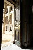 A historical door in Umayyad Mosque in Damascus syria