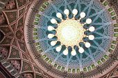 foto of oman  - Interior view of dome of Sultan Qaboos Grand Mosque in Muscat - JPG