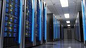 Server racks in server room data center.3d render poster