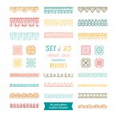 Vector Set Of 20 Sketch Lace Seamless Brushes. poster