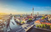 Berlin Skyline With Spree River At Sunset, Germany poster