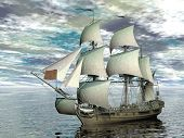 stock photo of sloop  - sailing ship in vast sea - JPG