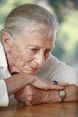 Senior Woman Pondering. Shallow Dof.