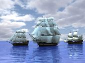 picture of sailing-ship  - three ships in the sea - JPG