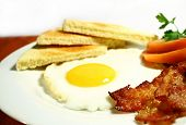 plate of bacon and egg with toast