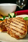 image of pork chop  - grilled pork chops with sweet and spicy salsa - JPG
