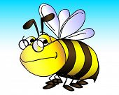 vector illustration of a wise old bumble bee