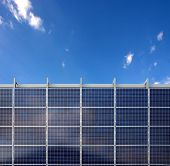 Solar energy panels and a blue sky