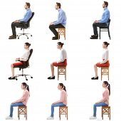 Rehabilitation concept. Collage of people with poor and good posture sitting on chair against white  poster