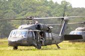 KILL DEVIL HILLS, NC - AUG 5: Two Sikorsky UH-60 Black Hawk helicopters based at 82nd Airborne Div.
