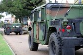 NEW ORLEANS - SEPT 1: Two National Guard humvees stop to inspect damage caused by Hurricane Gustav o