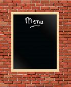 A vector illustration of a 'menu' chalkboard against a brick wall