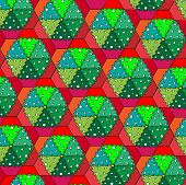 A vector illustration of Christmas trees in pots. Repeating pattern tessellation. Sketch style.