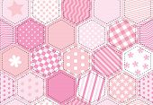 A vector illustration of a patchwork quilt background in shades of pink