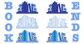 Stylized icons of books with bookends. Shades of blue. Also available in vector format