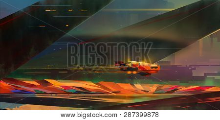 Painted Bright Landscape In The